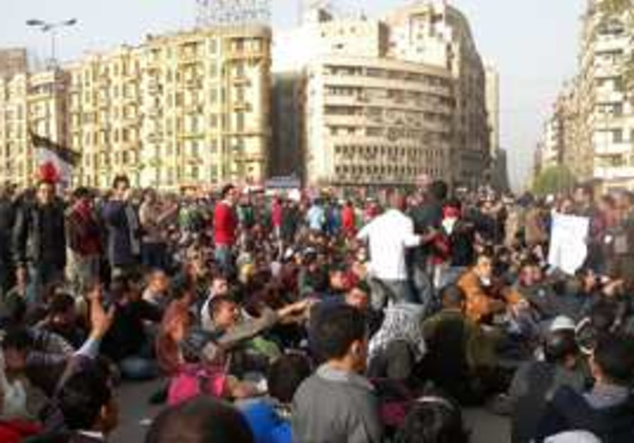 Egyptian protesters in the streets of Cairo