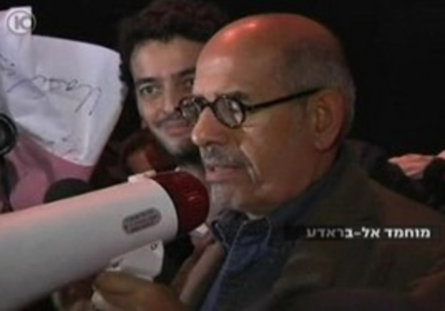 Mohamed ElBaradei speaking in Tahrir Square