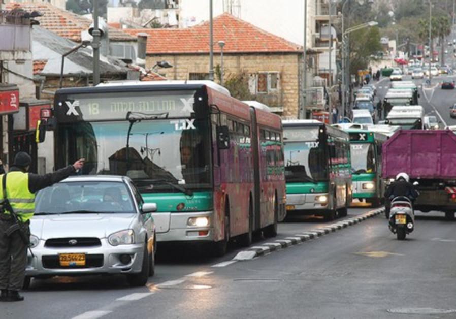 A No.18 bus on Rehov Agrippas.