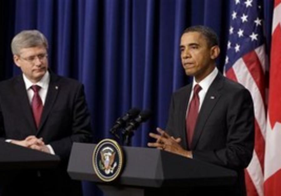 US Pres. Barack Obama, Canada's PM Stephen Harper
