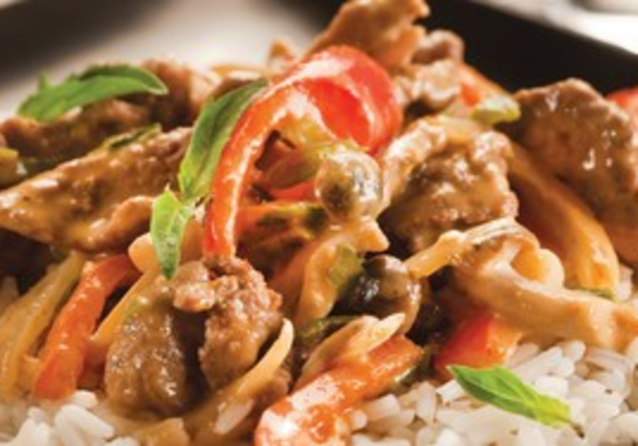 Beef cooked with coconut milk.