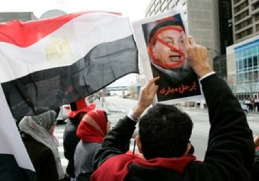Anti-Mumarak protesters in Cairo