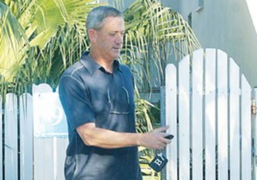 Benny Gantz leaving home in Raanana