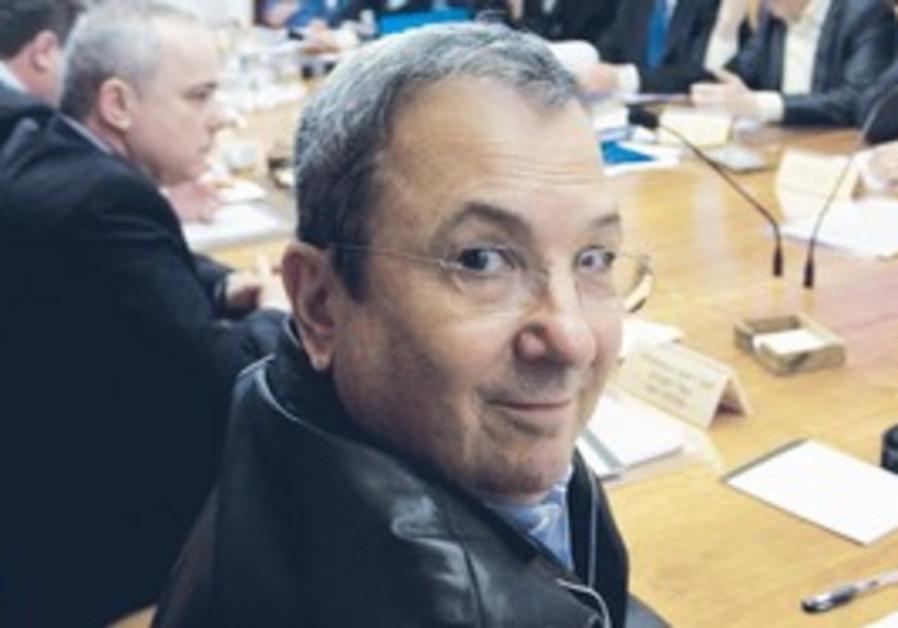 Ehud Barak at weekly cabinet meeting