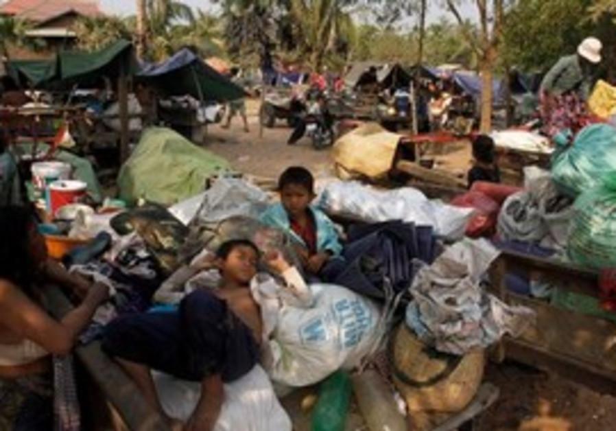 Cambodian refugees stay at Wat Kiri Tuol Andet