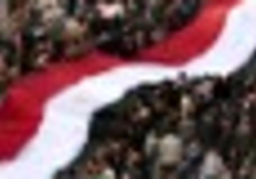 Anti-Mubarak protesters in Tahrir Square Feb. 8