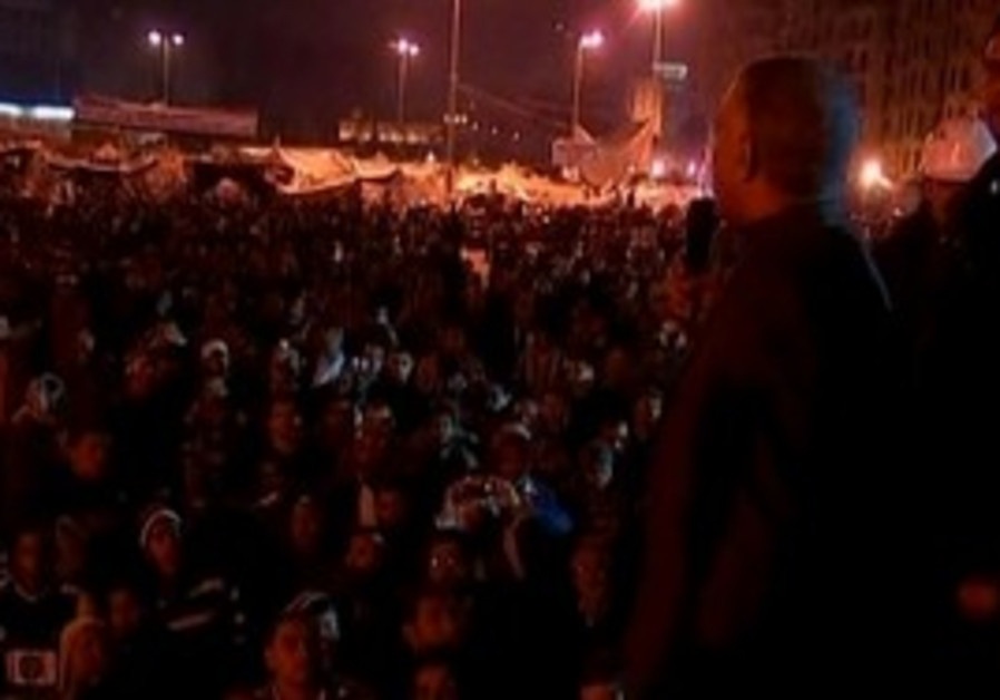 Night demonstrations at Cairo's Tahrir Square.