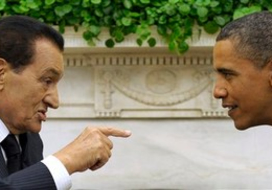 Egyptian President Mubarak with US President Obama