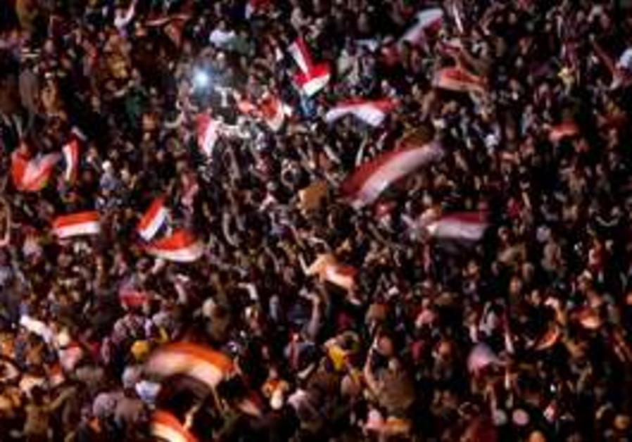 Anti-government protesters celebrate in Cairo