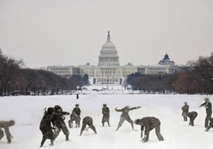 SNOWBALL FIGHT. Visitors have fun in front of the