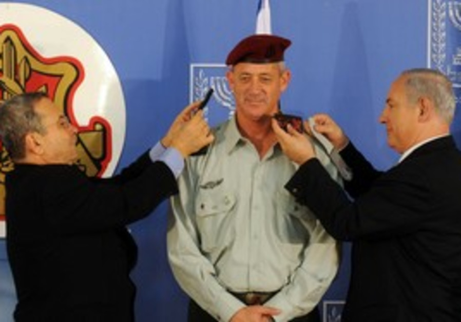 Benny Gantz gets new rank from Barak, PM