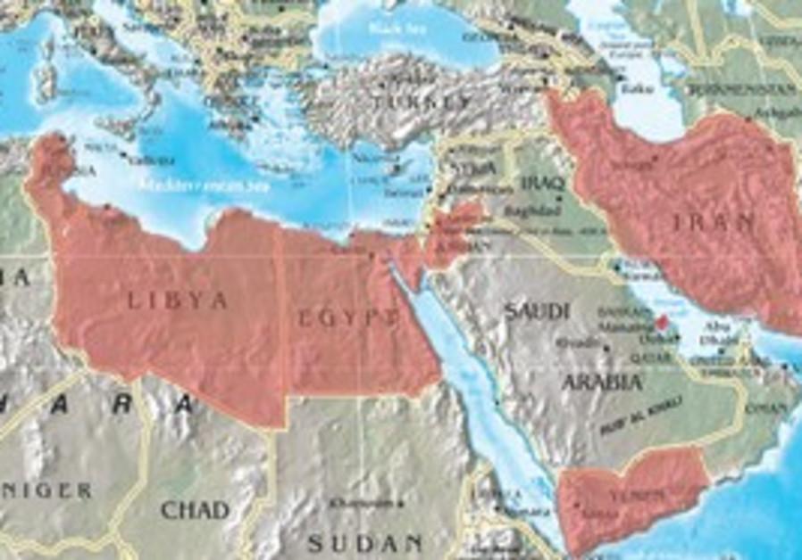 REGIONAL TURMOIL. A map of countries in upheaval