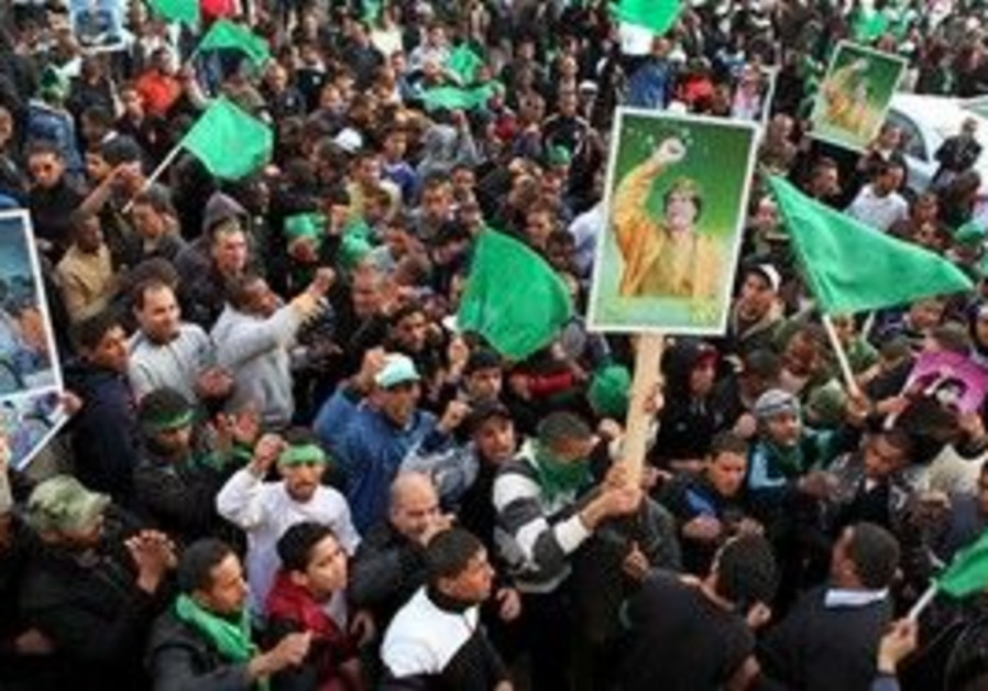 Pro-Gadhafi supporters gather in Green Square.