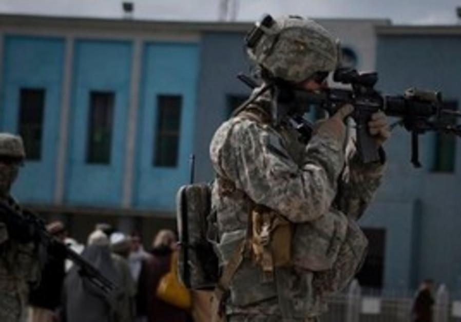 US soldier patrol Kandahar, Afghanistan