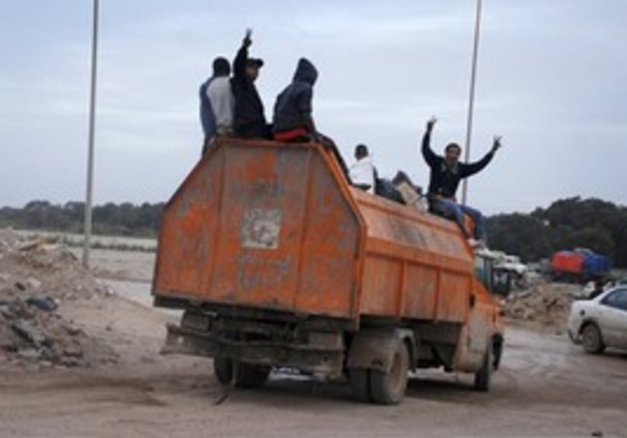 Protesters in Libya, Monday