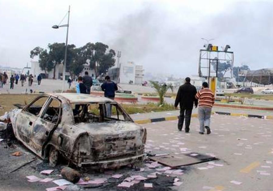 Libya burnt car