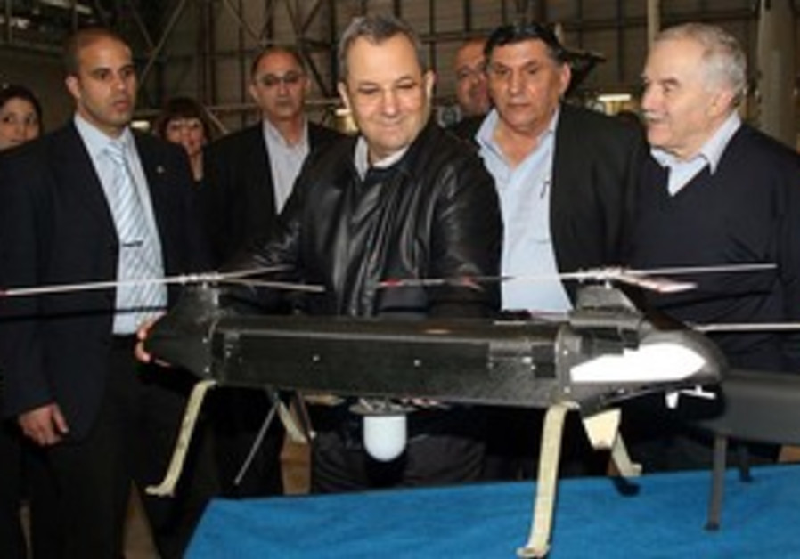 Ehud Barak at IAI with 'Ghost' UAV