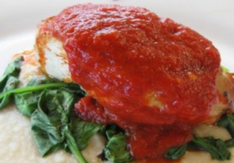 chicken breasts with red pepper puree