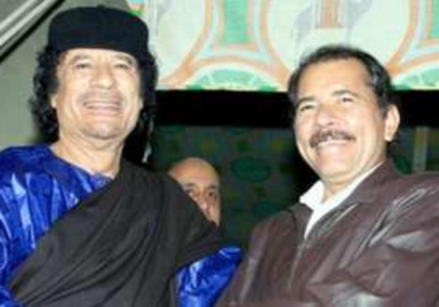 Nicaraguan President Daniel Ortega with Gaddafi