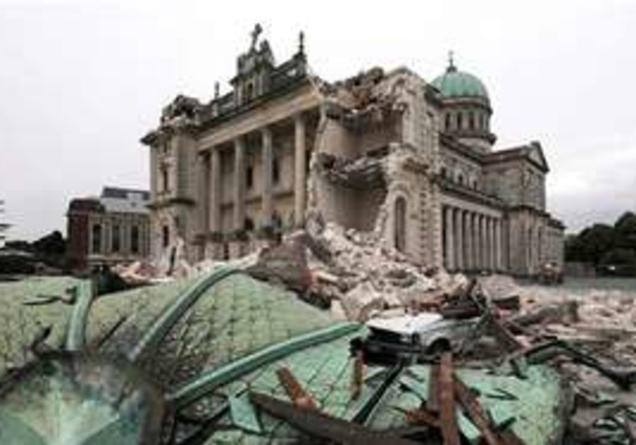 Destroyed cathedral in Christchurch