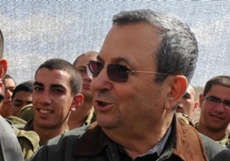 Defense Minister Ehud Barak at Givati base