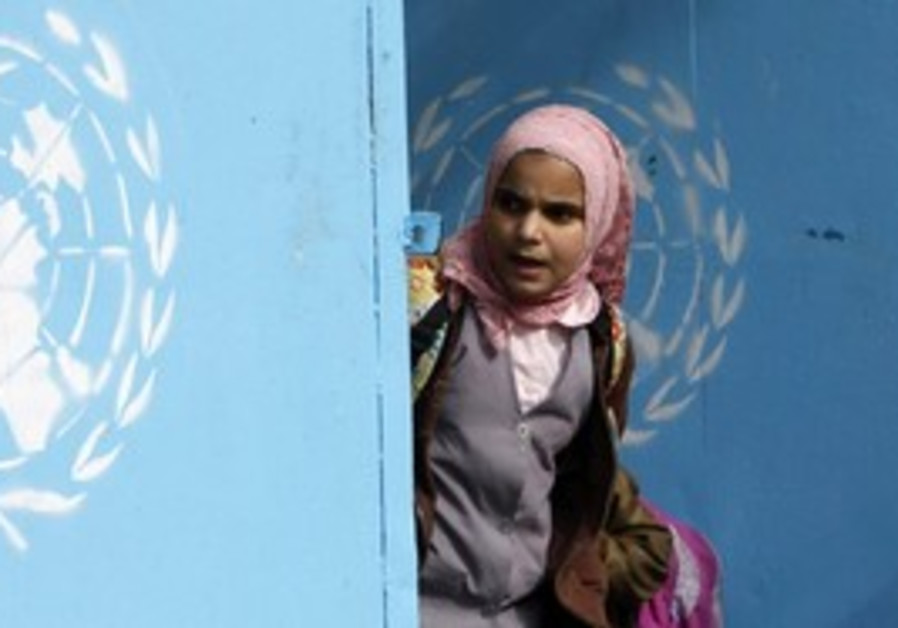 Palestinian girl at UNRWA school [illustrative]