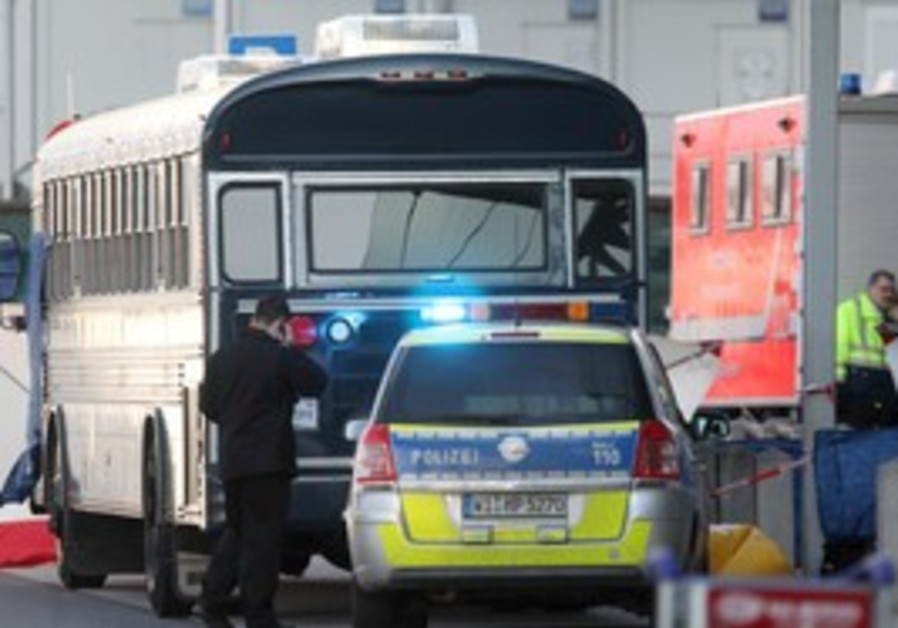 Police near US military bus in Frankfurt, Germany