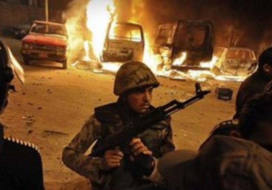 Egyptian soldier following clashes in Alexandria