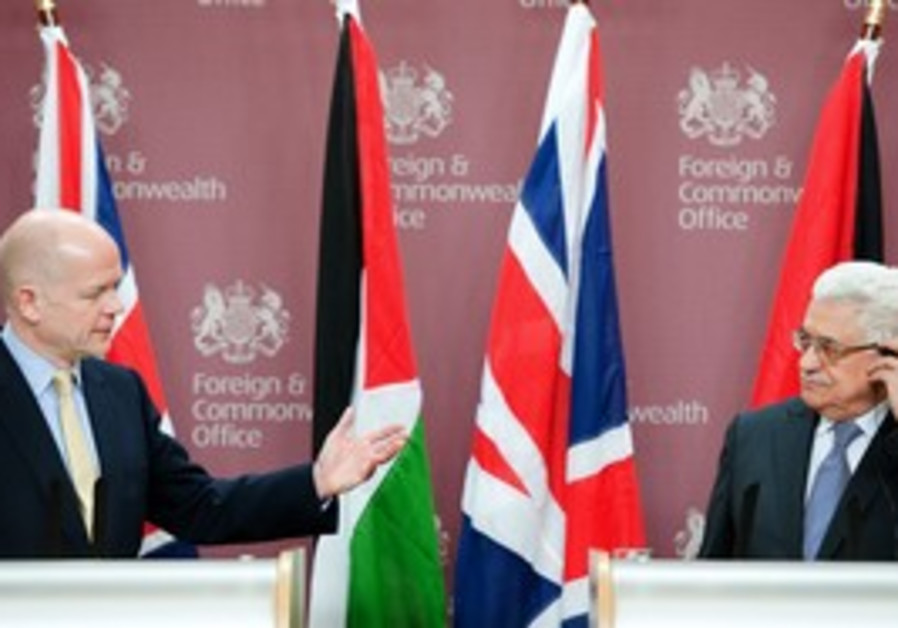 William Hague and Mahmoud Abbas in London, Tues.