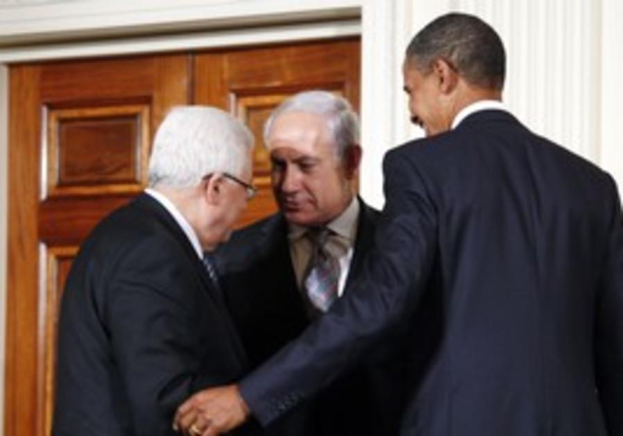 Obama, Netanyahu and Abbas at the White House