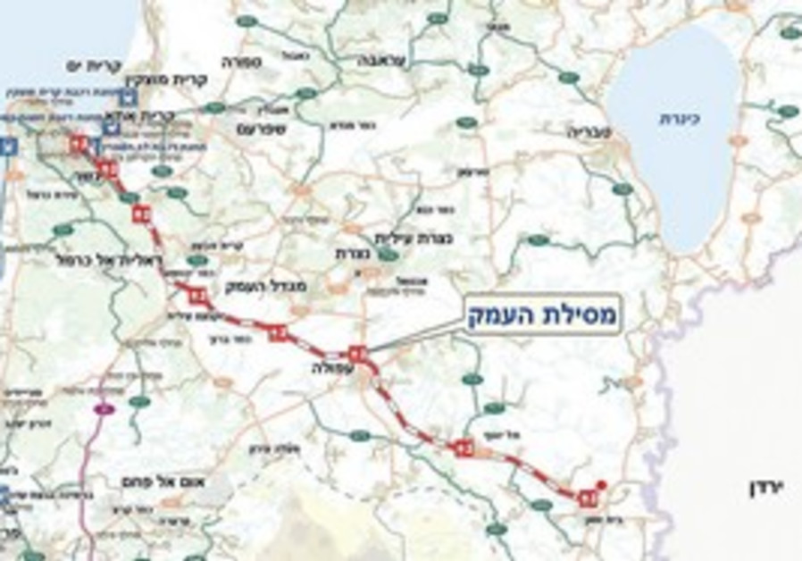 A MAP of Northern Israel shows proposed railway