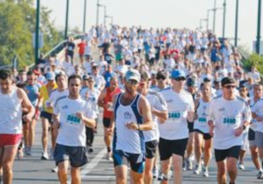 Marathon runners in Tel Aviv.