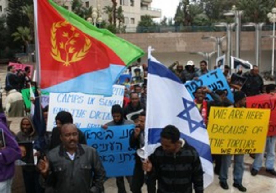 Eritrean protesters in Ramat Gan
