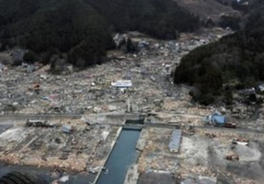 Aerial view of destruction in Wakuya
