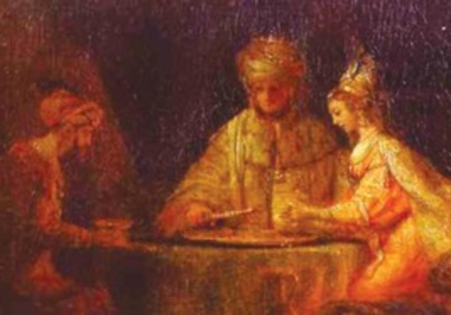 'Ahasuerus and Haman at Esther's Feast,' Rembrandt