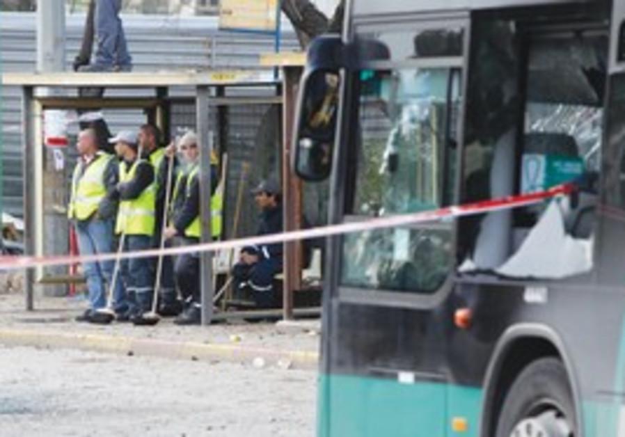 Aftermath of terror attack near J'lem bus station