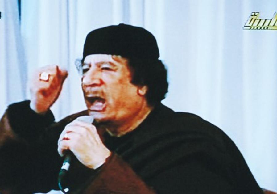 Muammar Gaddafi in a live broadcast on state tv