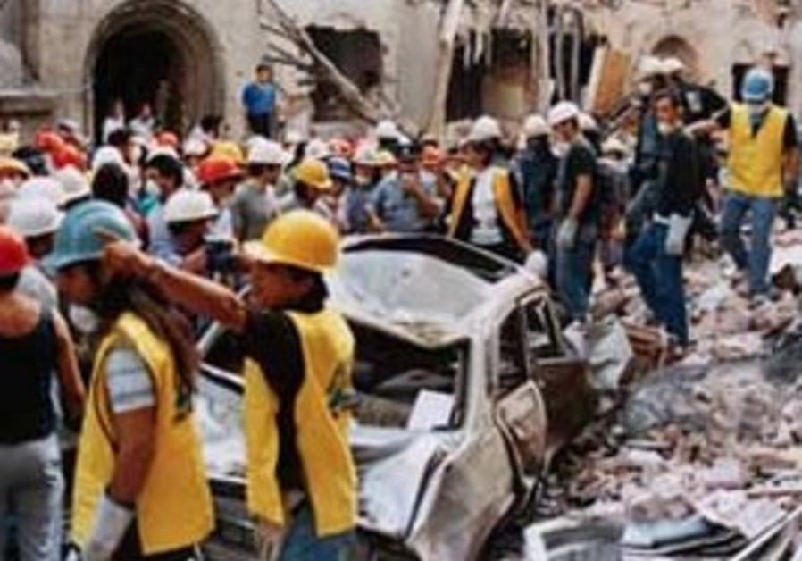 The scene of the Argentina Israeli embassy bombing