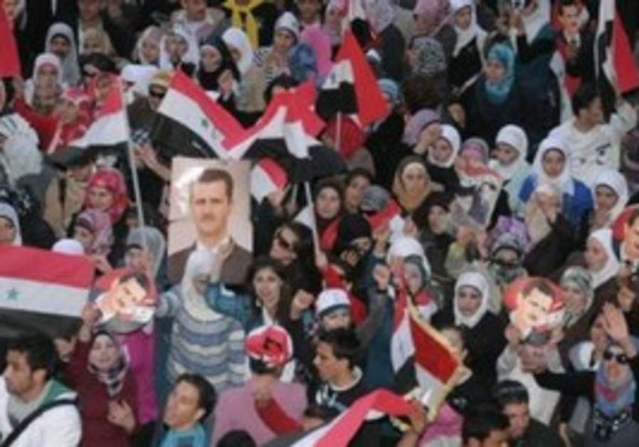 Supporters of Syrian President Assad in Aleppo