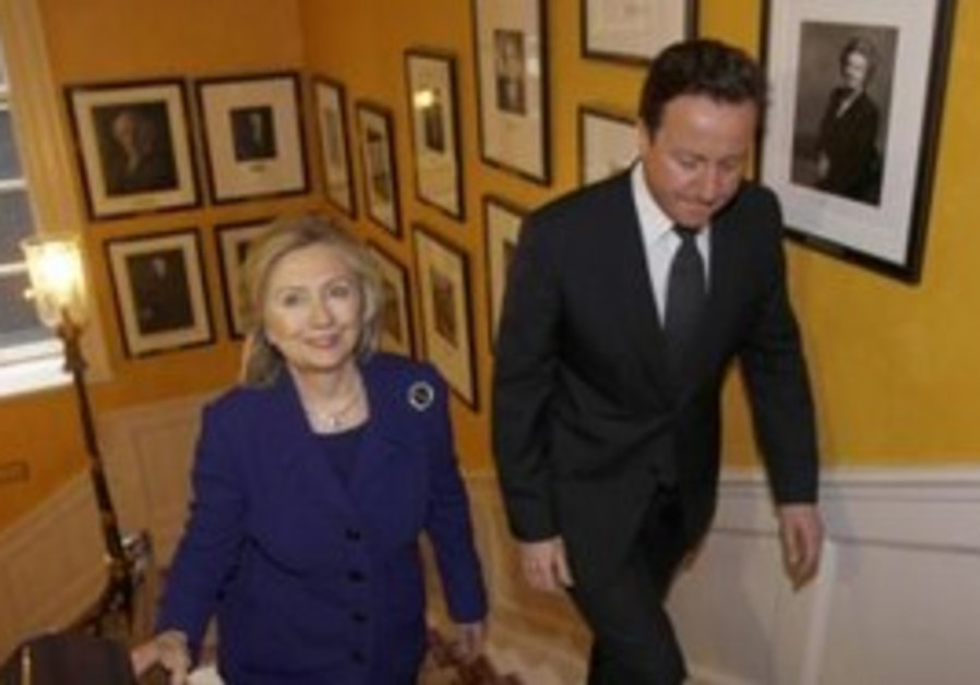 US Secretary of State Clinton with UK PM Cameron