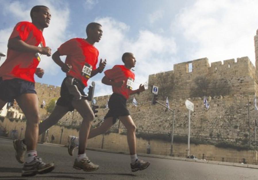 Runners in the Jerusalem Marathon