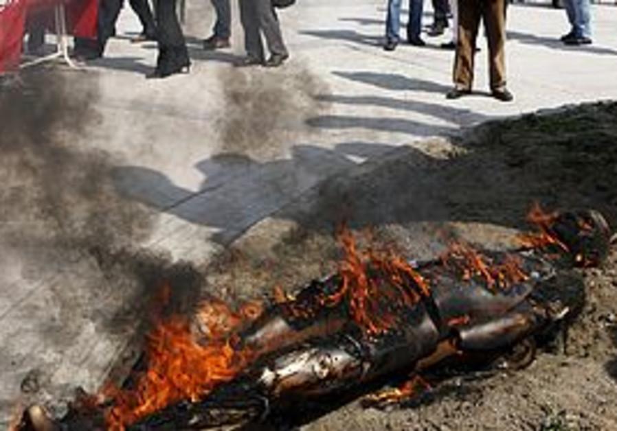 An effigy of a PKK leader burns in Turkey