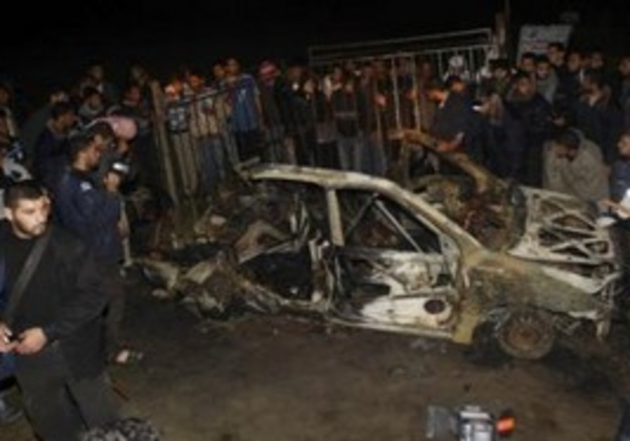The car hit by an IAF airstrike in Gaza