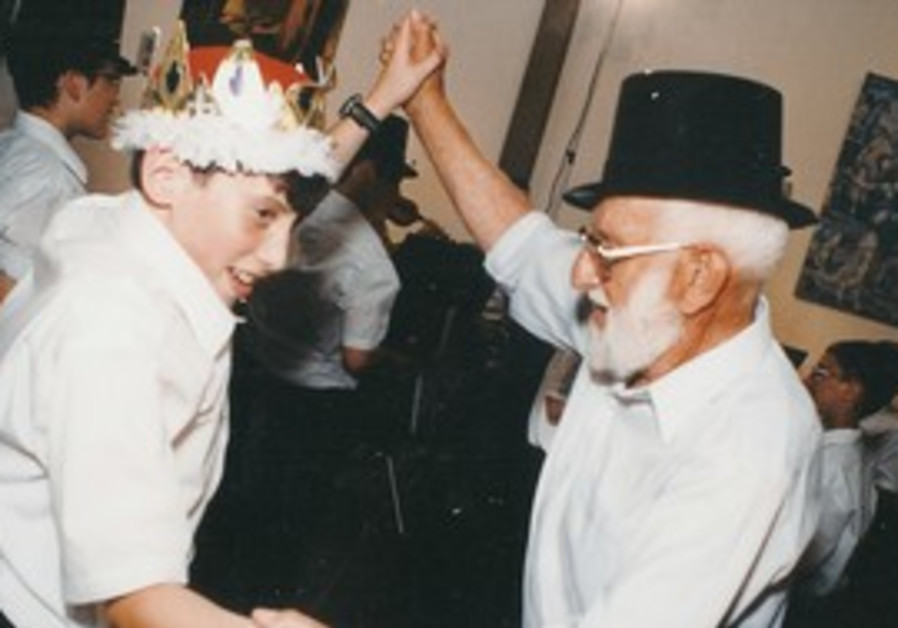 Shalom Maagan at grandson's bar mitzva in 1998