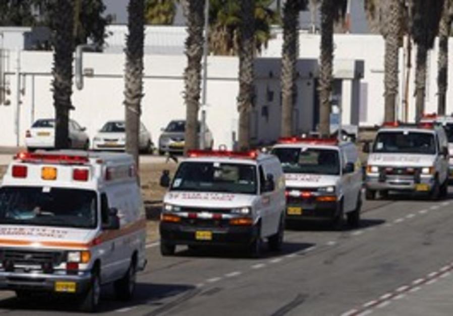 Magen David Adom ambulances.