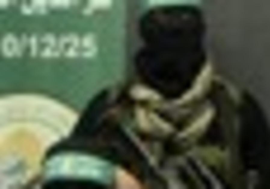 Hamas terrorists at a press conference.