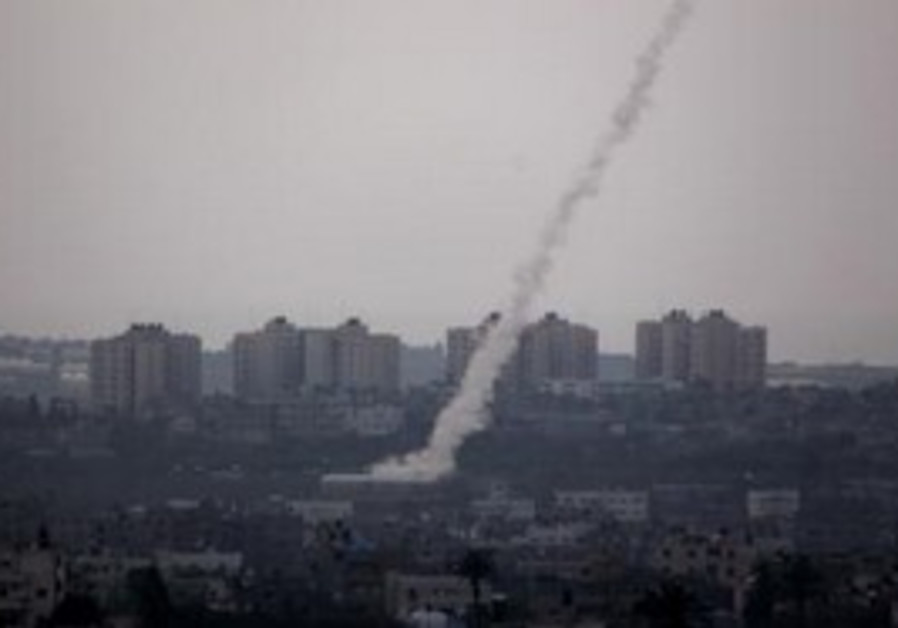 A rocket being fired from the Gaza Strip