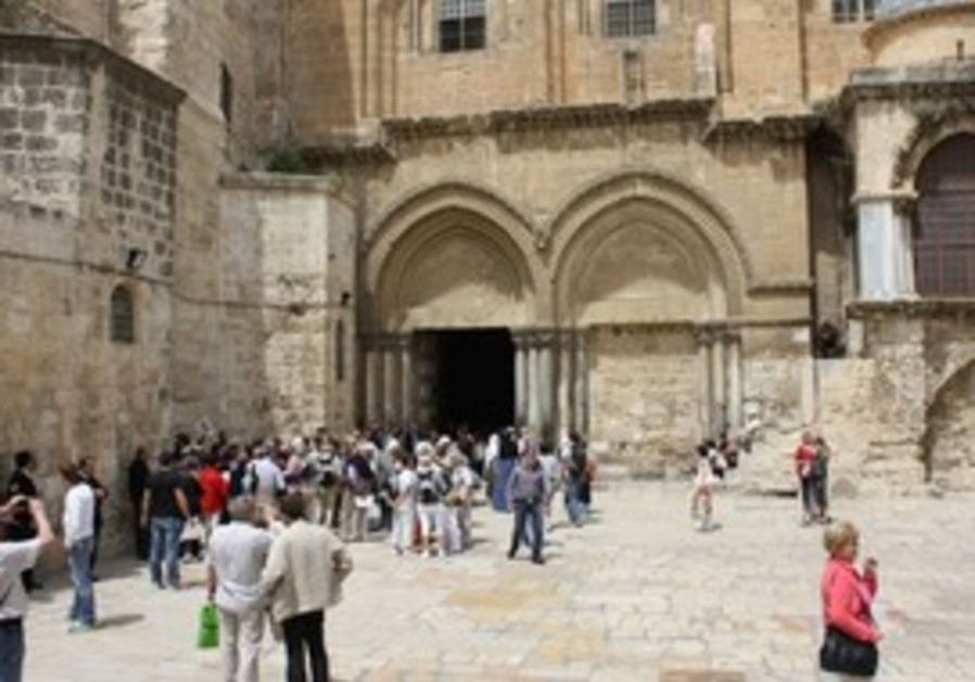 Congregants at the Church of the Holy Sepulcher