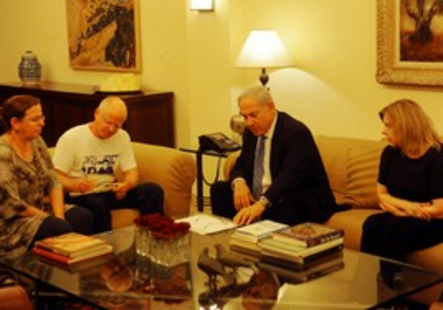 The Schalits meet with the Netanyahus in J'lem