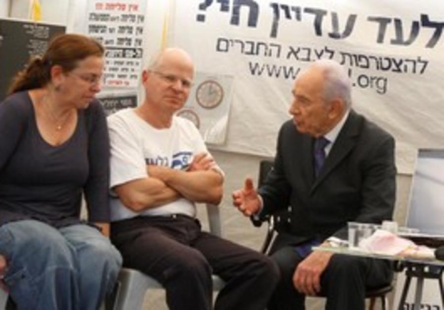 Noam Schalit meets President Peres in Jerusalem